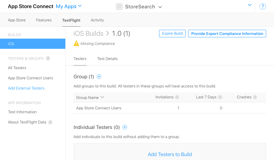 The build detail page on App Store Connect