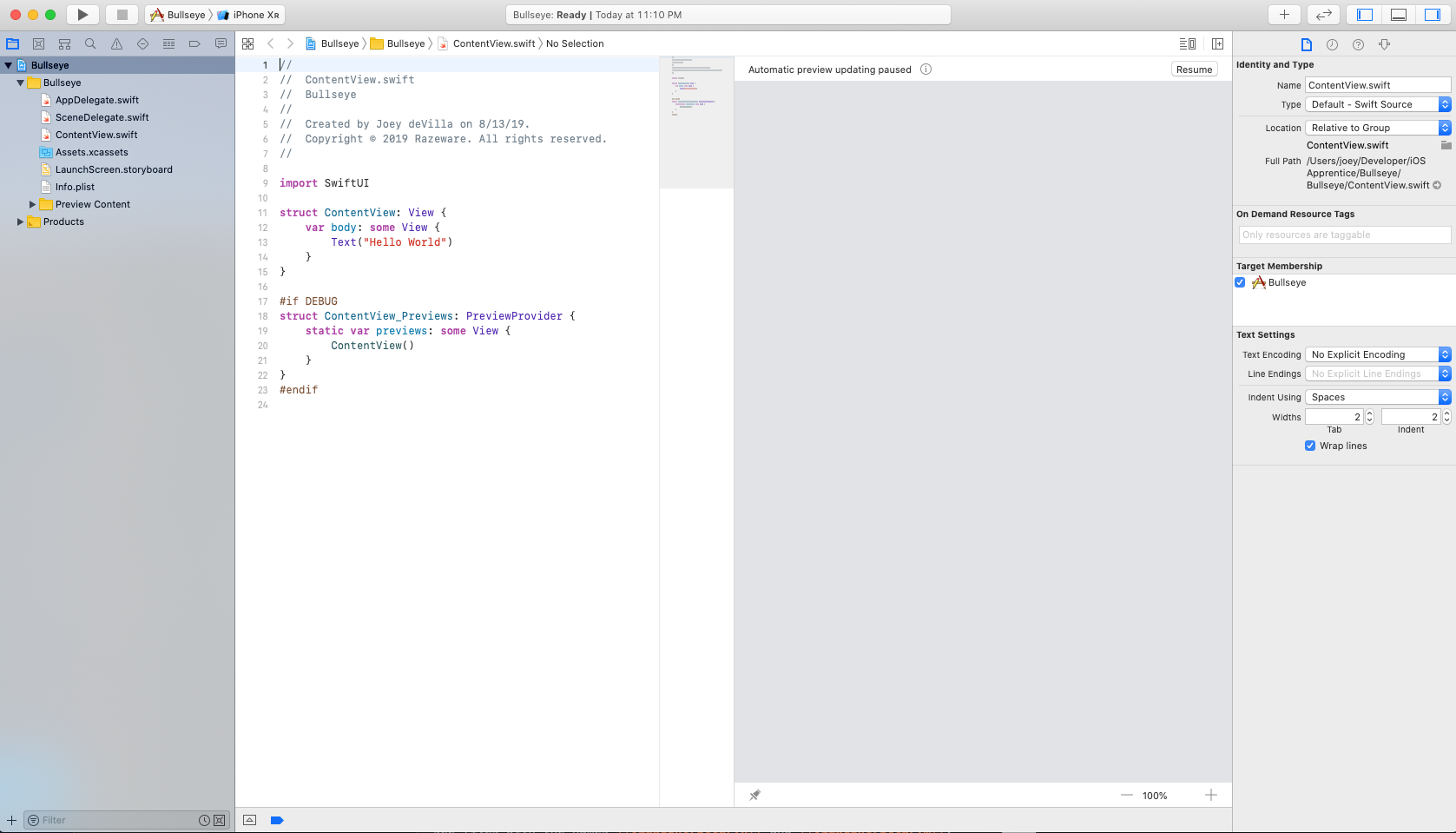 The main Xcode window at the start of your project