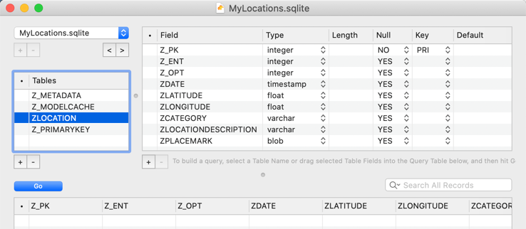 The empty MyLocations.sqlite database in Liya