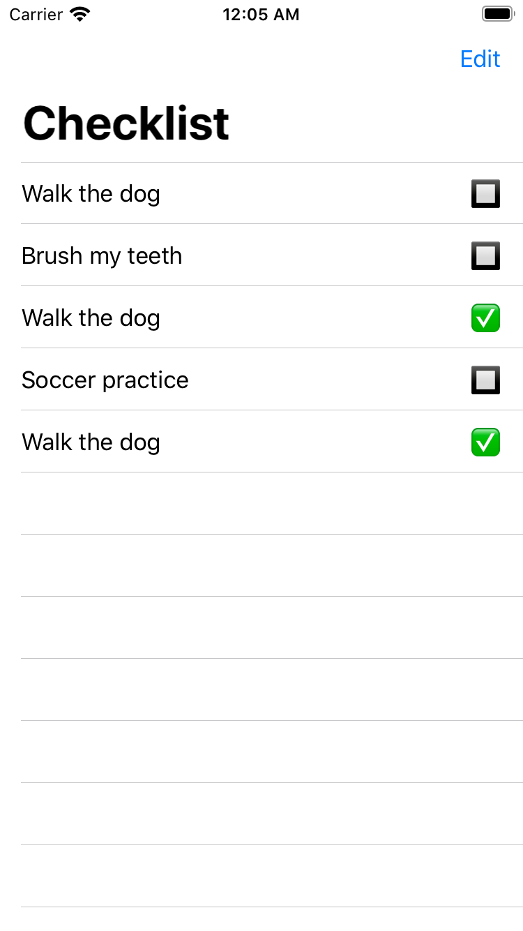 """The checklist with properly identified multiple """"Walk the dog"""" items"""