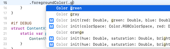Code completion appearing adding specifying a color for 'Welcome to my first app!'