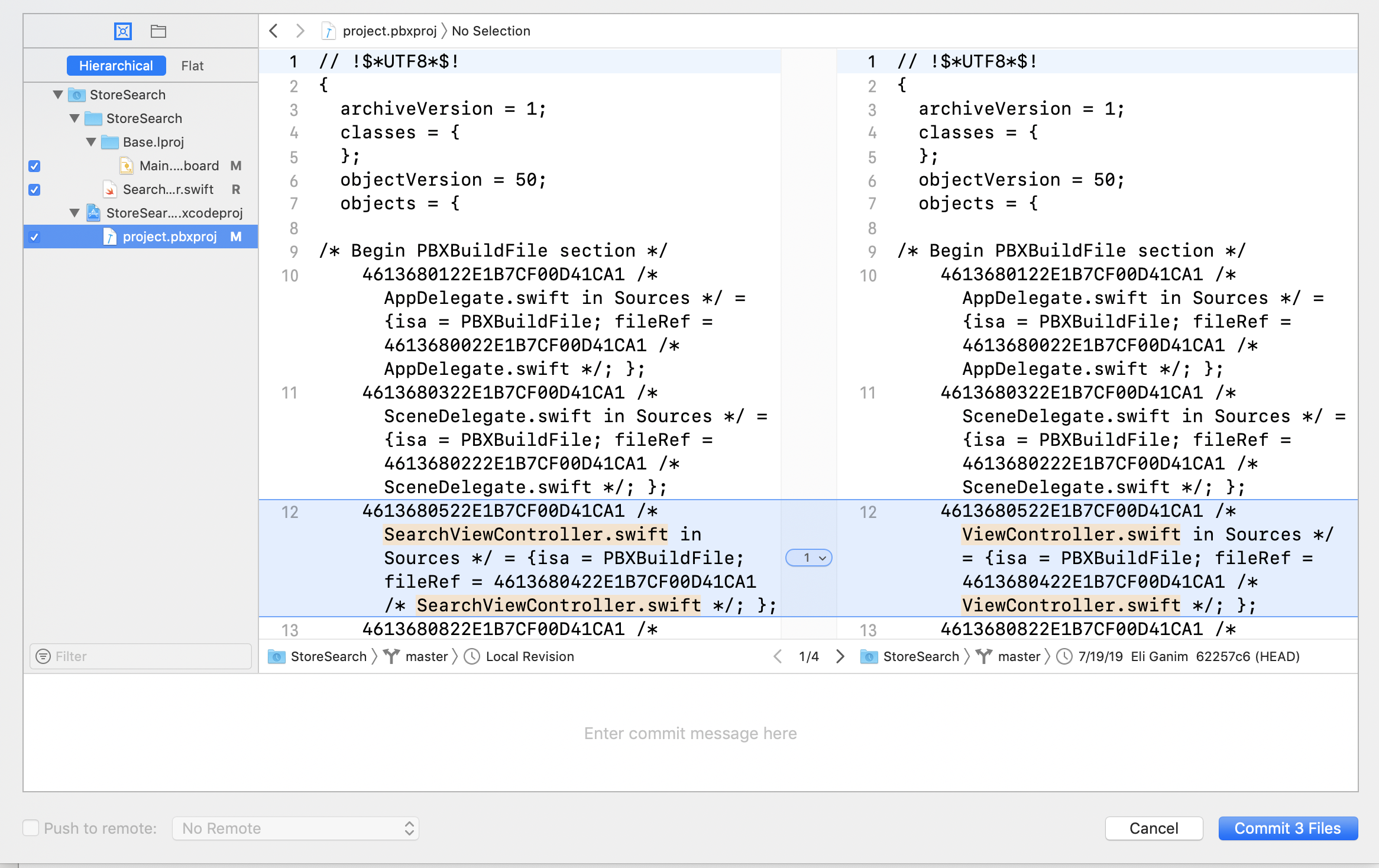 Xcode shows the changes you've made since the last commit