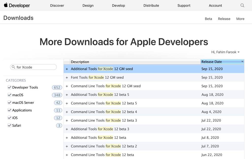The Downloads for Apple Developers page