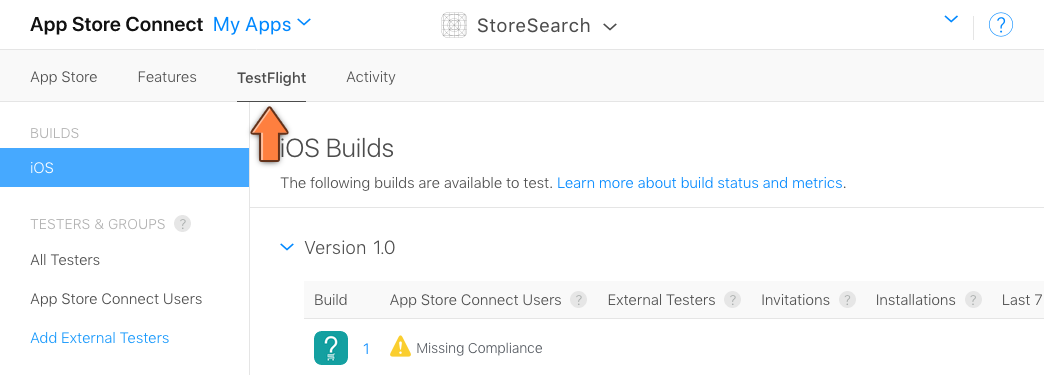 The TestFlight page on App Store Connect