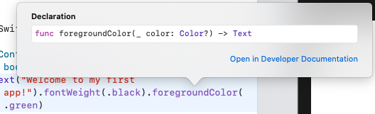 Getting more information about the foregroundColor() method
