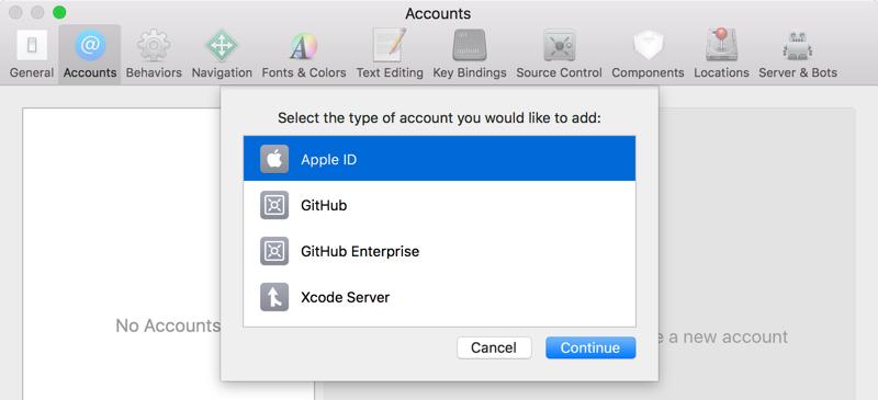 Xcode Account Type selection