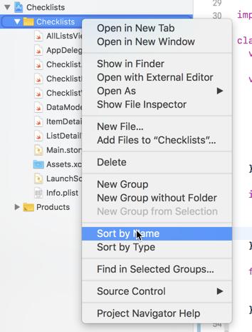 Context menu for folder
