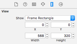 The Size inspector settings for the Image View