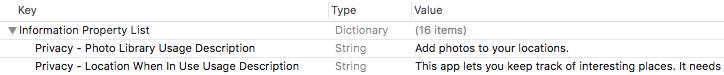 Adding a usage description in Info.plist