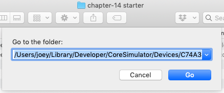 The 'Go to the folder:' dialog box with the 'Documents' directory pasted in