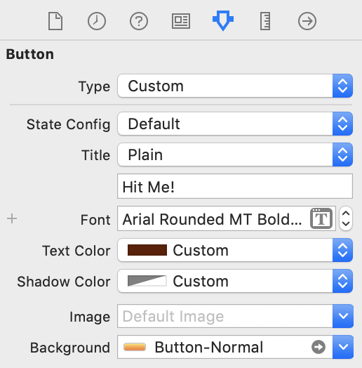 The attributes for the Hit Me! button in the default state