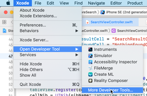 The More Developer Tools menu option