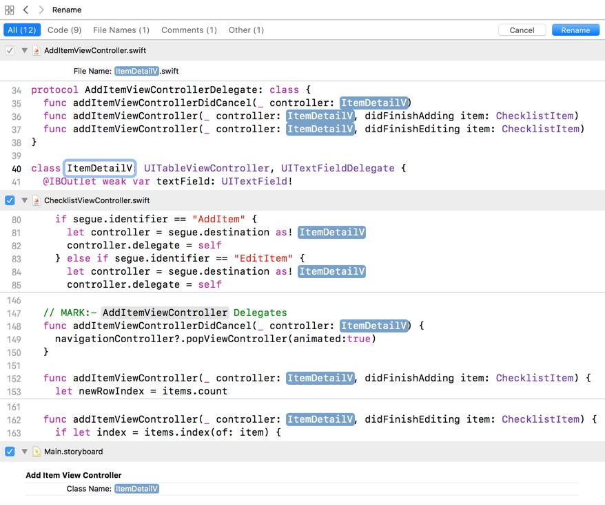 Xcode real-time renaming