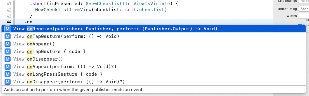 Xcode suggests a number of methods that begin with 'on'