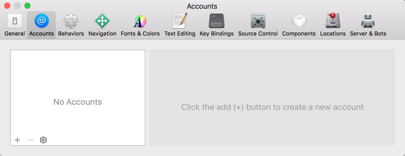 The Accounts preferences