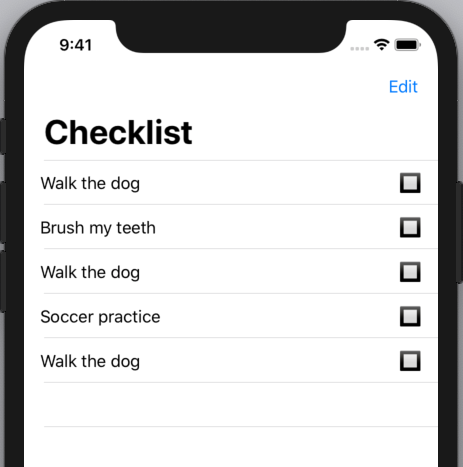 """The checklist, with multiple """"Walk the dog"""" items, all unchecked"""