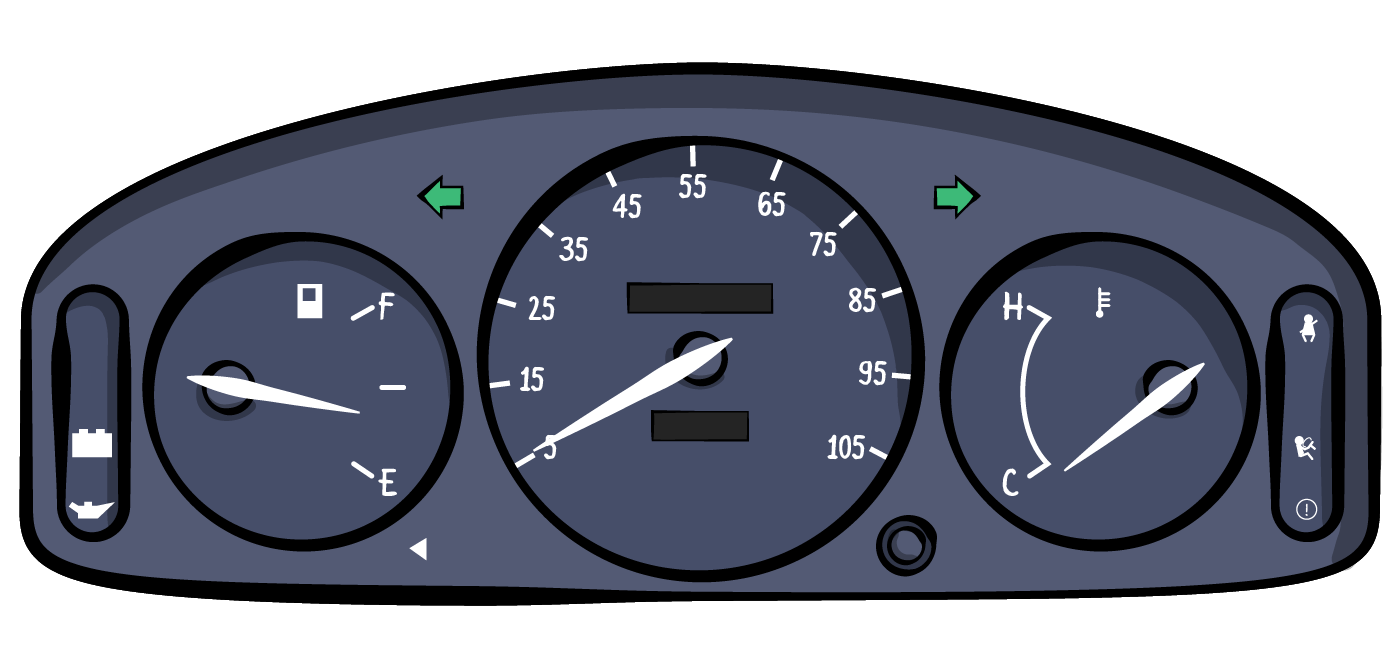 The dashboard of a car