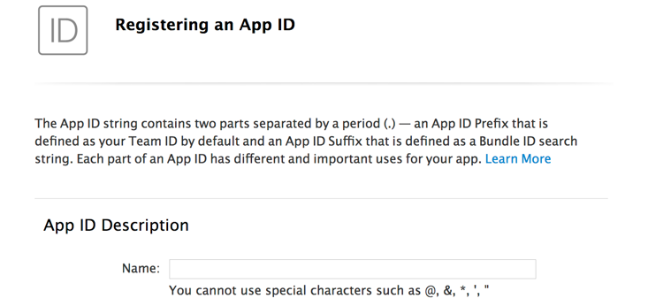 Creating a new App ID