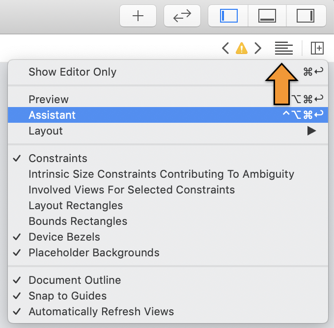 Click the toolbar button to open the Assistant editor