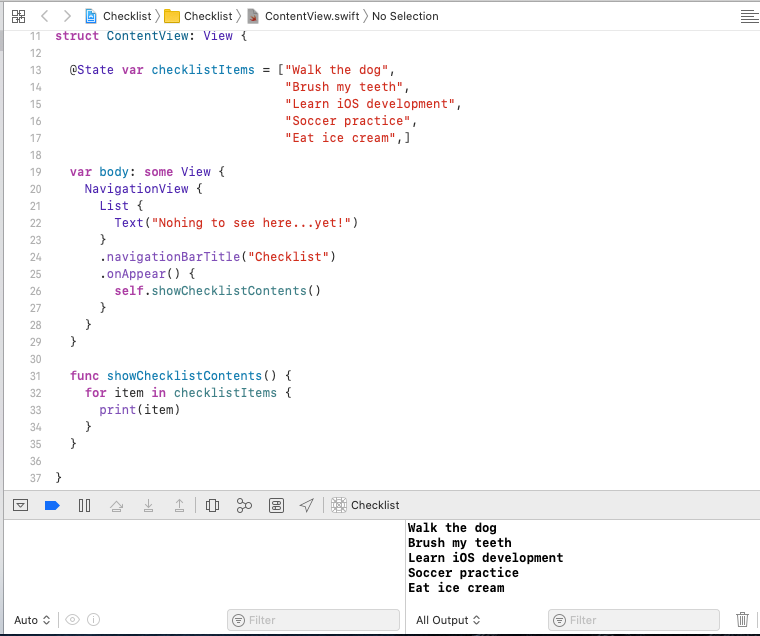The Xcode window, with the contents of checklistItems displayed in the debug console