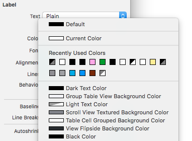 Quick access to recently used colors and several handy presets