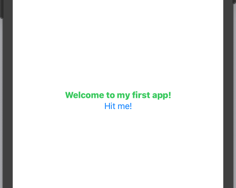 The app, with the Hit me! button added