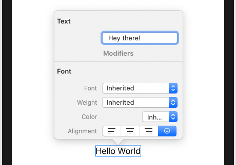 Editing the text to say 'Hey there!'