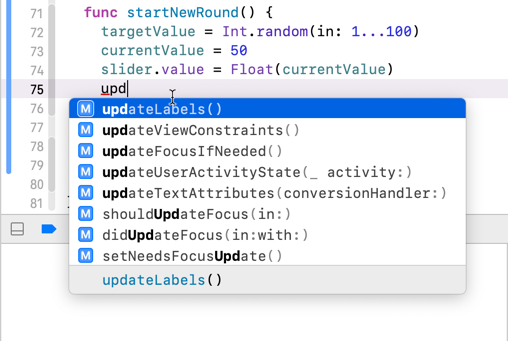 Xcode autocomplete offers suggestions