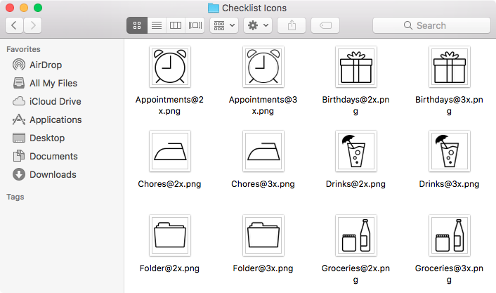 The various checklist icon images