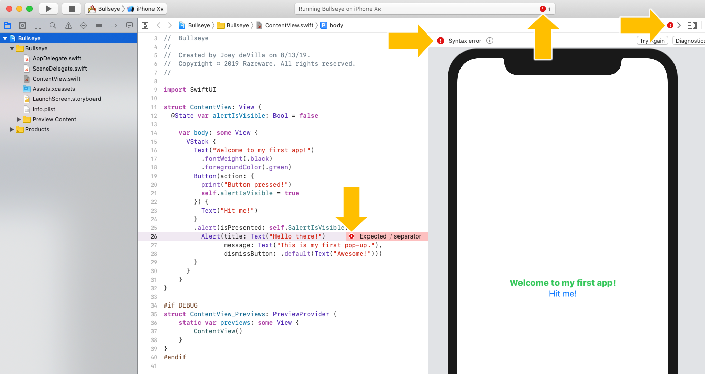 Xcode makes sure you can't miss errors