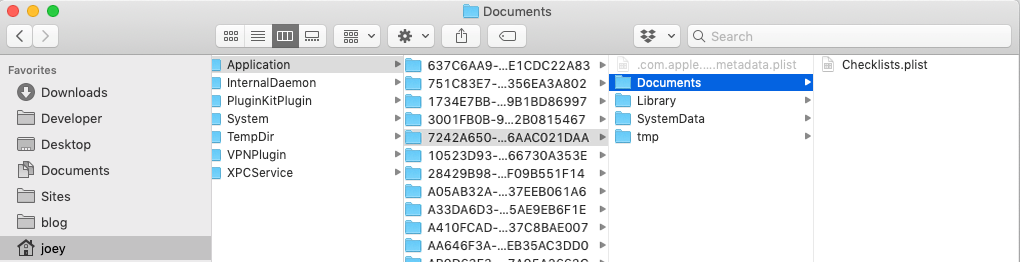 The Documents directory now contains a Checklist.plist file