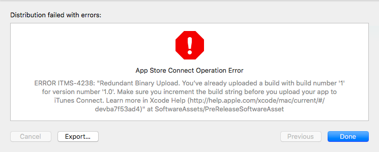 App Store Connect error about build number