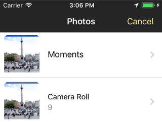 The photo picker with the new colors