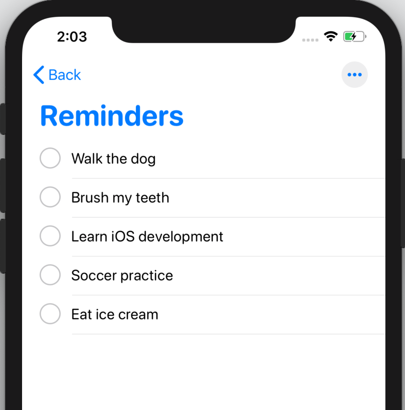 The Reminders app on iOS 13