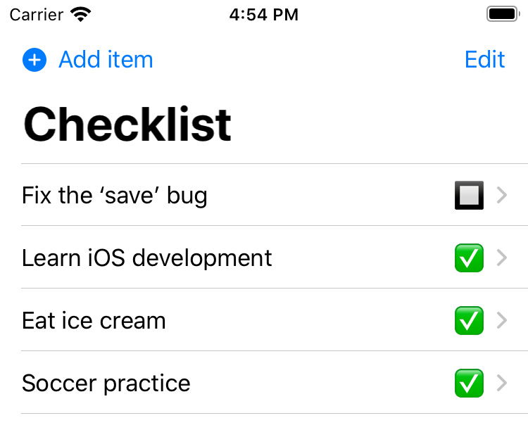 """The checklist, with a """"Fix the 'save' bug item"""