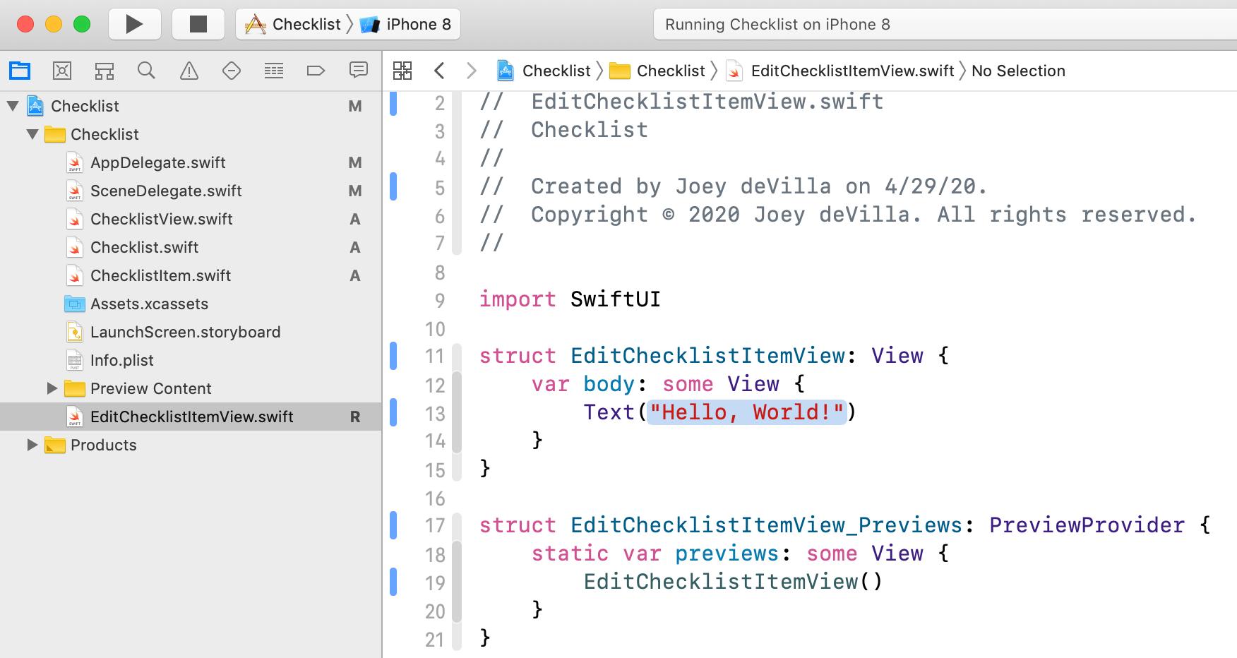 The new EditChecklistItemView.swift file