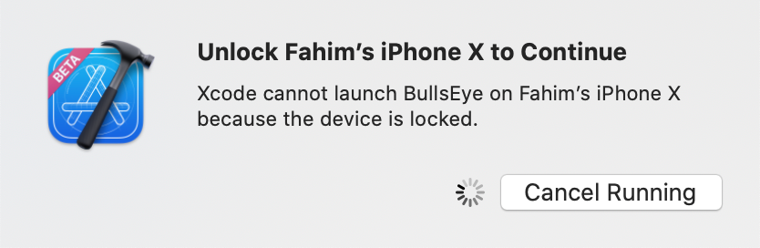 The app won't run if the device is locked