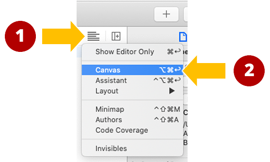 The Editor Options button and menu