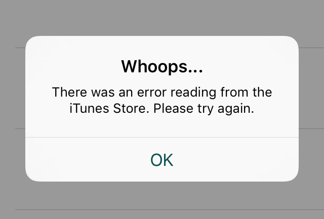 The app shows an alert when there is a network error