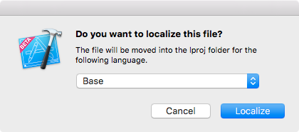 Choosing the Base localization as the destination