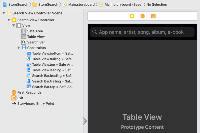 The search view controller with Search Bar and Table View
