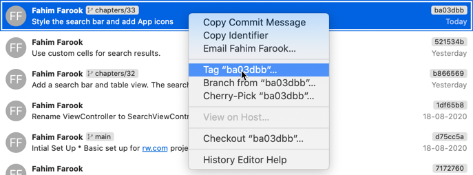 Tagging a commit in Xcode