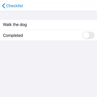 "The initial ""Edit checklist item"" screen"