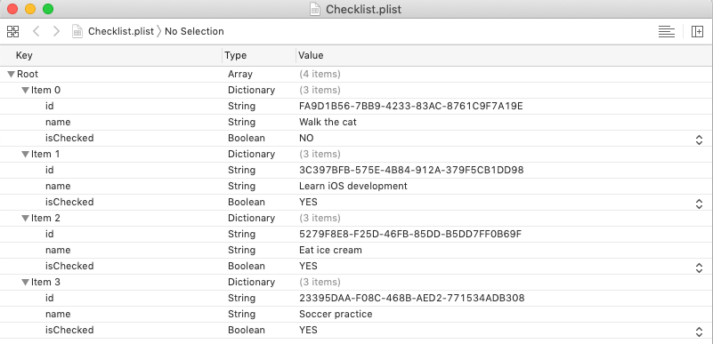 The plist file with the items closed, as seen in Xcode