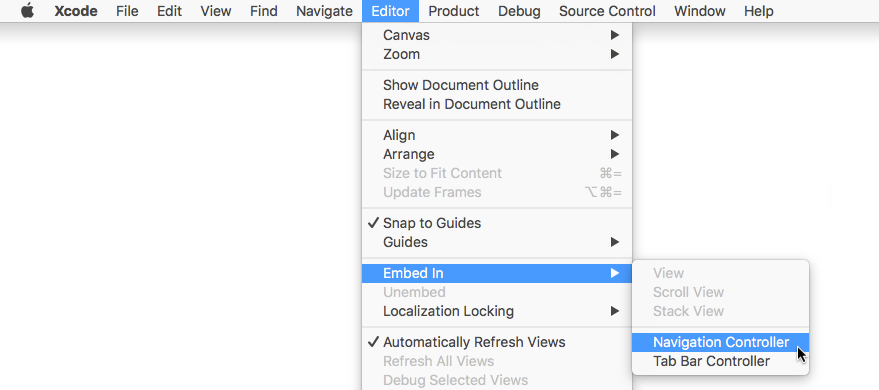 Putting the view controller inside a navigation controller