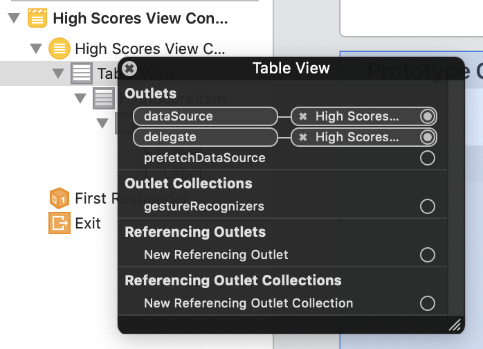 The table's data source and delegate are hooked up to the view controller
