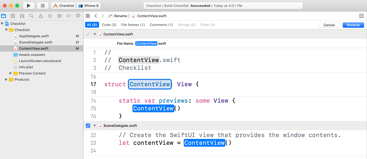 Xcode shows you all the instances of the name ContentView