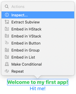 Inspecting the 'Welcome to my first app!' view
