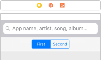 The Segmented Control sits in a Navigation Bar below the Search Bar