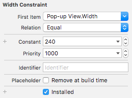 The Size inspector for the Width constraint